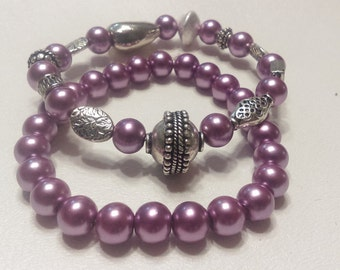 Item #051 Purple Glass Pearls Bracelets