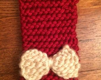 Crimson & Cream Knitted Headband