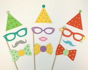Party Photo Booth Props / Photobooth Props / Party Hats / Birthday Party Supplies / Wedding Photo Props / FULLY ASSEMBLED / 12 Pc