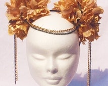 Gold and black Oriental style festival headband with chains