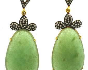 Aventurine Earrings/ Green Aventurine/ Aventurine Hanging Earrings--Sterling Silver