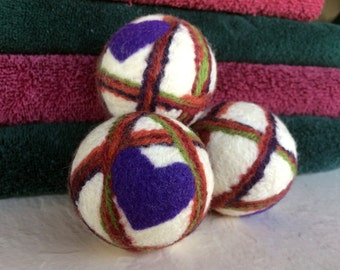 Natural Wool Dryer Balls (set of 3) ~ Eco Friendly Non Toxic Alternative to Dryer Sheets