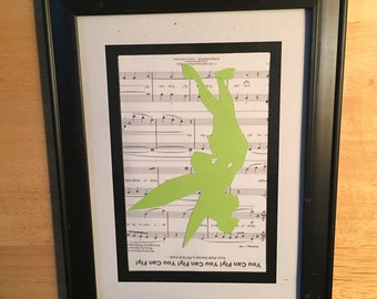 Tinkerbell paper cutting with Music Sheet background  / scherenschnitte / Papercutting/ Disney/ Princess/ Tinkerbell / Picture