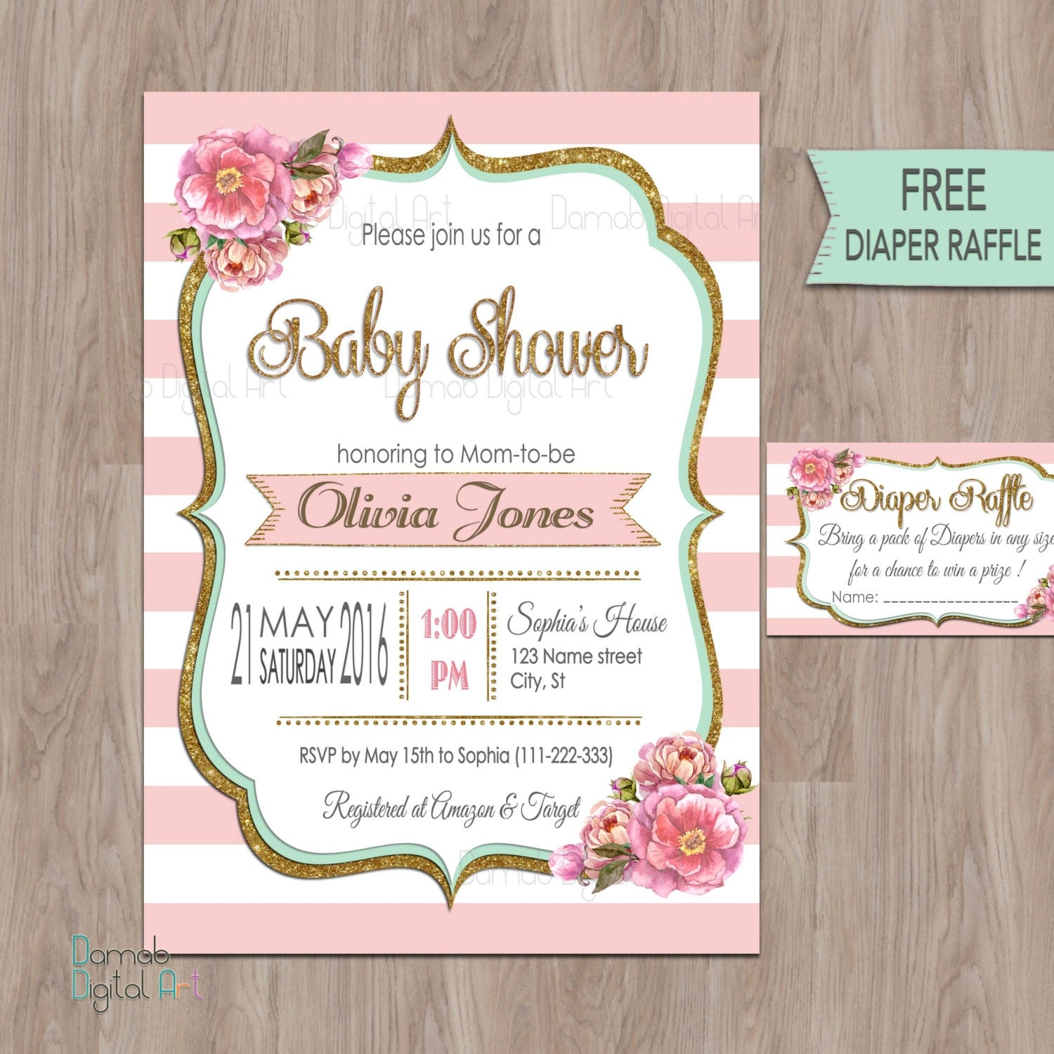 pink gold mint baby shower invitation pink mint baby shower