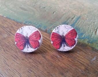 Wooden Butterfly stud earrings