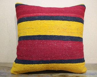 Kilim Pillow,Throw Pillow Floor Pillow 16x16 Kilim Cushion Cover Vintage Kilim,Turkish Kilim Pillow Decorative Pillow,Cushion 40x40 SP40-22
