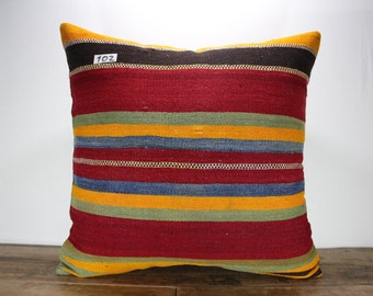 Oversize Kilim Pillow Cover,Large Pillow Cushion Cover Bright Kilim Pillow Floor Pillow Vintage Kilim Pillow Sofa Pillow Throw Pillow 24x24