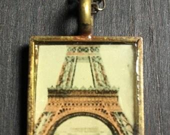 Antique Brass Vintage Eiffel Tower Necklace