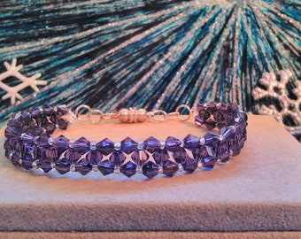 Handmade Right Angle Weave Beaded Bracelet Purple Crystal Beads with Silver Magnetic Clasp