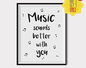 Music wall art, Music Poster, Song lyrics wall art, love quotes print, Gift for her, Black and white prints, wall prints, INSTANT DOWNLOAD