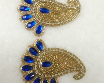 Pair of Blue gold Beaded Appliques, Zari work, Rhinestone, wedding dress, Embroidery Appliques