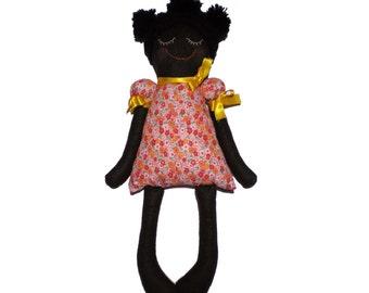 Black Doll Amelia - Cloth doll - Felt doll - African doll-handmade-girls gift-OficinaDartesa*Craftswoman Shop