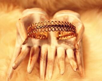 Detailed Mosaic Motif Cuff Bracelet