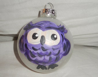 hand painted owl ornament