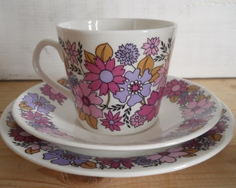 1960s Portobello Floral Design Trio by Elizabethan China No. 2 Colourway - Pink & Purple