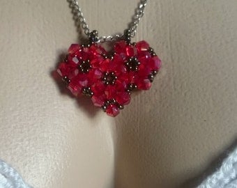 Handmade Crstal Heart Necklace / For You / For Your Loved Ones /Valentine's Day/ ShowyHandMade