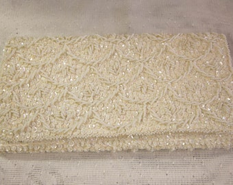 Antique white, beaded, sequined, structured Evening Bag