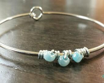 Silver and Blue Minimalist Bracelet