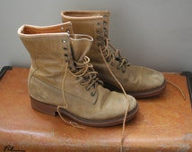 Vintage Greb Distressed Patina Leather Lace-Up Canadian Military Work Boots Size 5 D