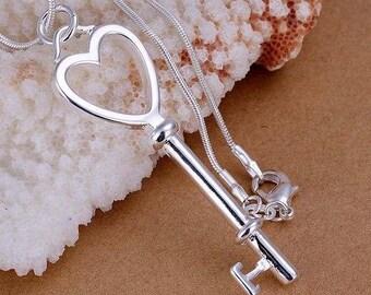 Sterling Silver Heart Key Necklace, Heart Key Pendant Necklace, Key Pendant Necklace, CZ Heart Key Necklace, Sterling Silver Key Necklace