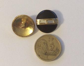 Black Enamel Button