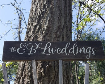 Wedding Hashtag Signs, Wedding Signs, Hashtag Signs, Wedding Reception Decor, Wooden Wedding Signs, Personalized Wedding Signs, Wedding