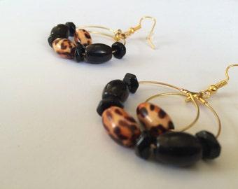 Leopard and Ebony Earrings
