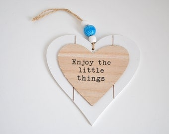 decoration heart hanging wood and ceramic