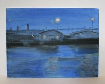 Original Landscape painting, fine art- View of the docks