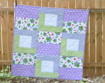 Flannel and Chenille Baby Girl Quilt