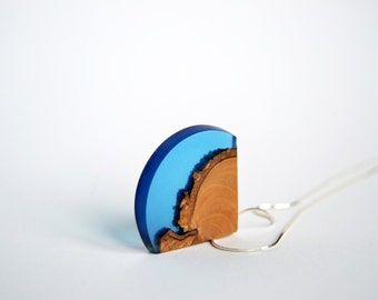 Necklace / Pendant - blue resin and wood