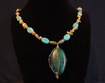 Dyed Howlite/Mixed Stones Necklace