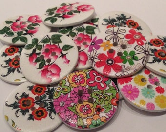 Flowers 40cm buttons wood Pack 14 units scrapbooking, clothing accessories sewing buttons wooden mandalas drawings of colors