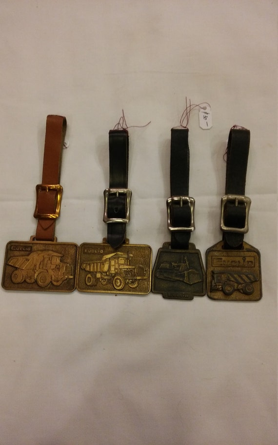 4 Vintage Advertising Watch FOBs from Heavy Equipment Company Euclid