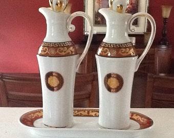 T. LIMOGES JUNO Porcelain Casa Elite Oil & Vinegar Cruet Set Ewers - 24k gold