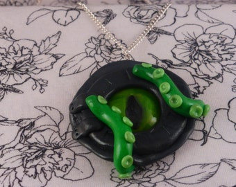 Polymer Clay 'Octopus Eye in Window' Necklace
