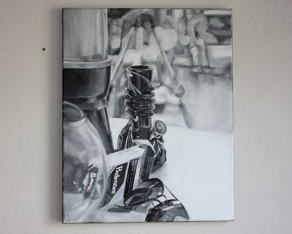 Painting Black And White Still Life By Katherinebrownstudio