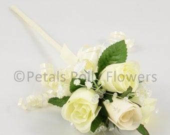 Artificial Wedding Flowers, Cream & Ivory Rose Flower Girl Wand