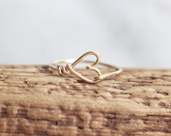 Heart shaped gold filled wire ring