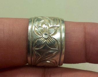Sterling Silver .925 Wide Band With Floral Scrollwork, Size 9