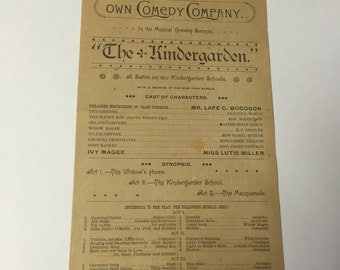 The Kindergarden Early 1900s Playbill