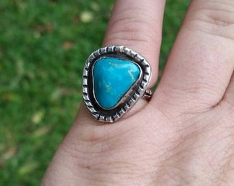 Large Turquoise ring.. Gemstone rings.  Turquoise jewelry. Statement ring.  Southwestern jewelry.  Solitaire ring. December birthstone ring