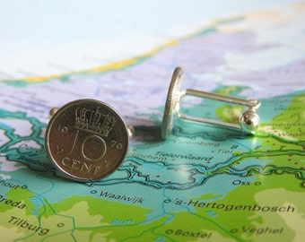 Netherlands Dutch dime coin cuff links in birth year 1948 - 1950 - 1951 - 1952 - 1953 - 1954 - 1955 - 1956 - 1957 - 1958 - 1959