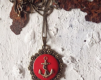 Anchor Necklace Amulet cherry-red with Flower Frame 30mm