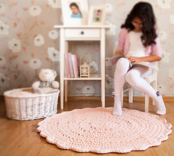 Floor Nanny Pillow For Baby : Light Pink Crochet Rug Pink Rug Floor Mat Nursery Rug Baby