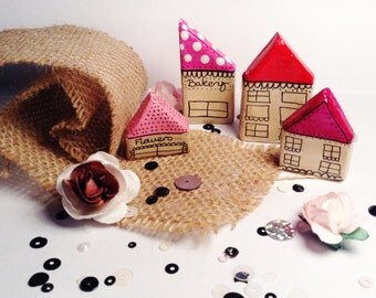 OOAK Set of 4 Handmade Miniature Clay Houses Fairy Villiage