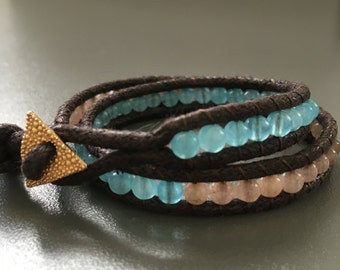 Two times wrap bracelet with jade and agate gemstones.