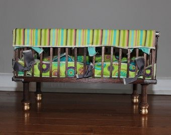 Baby doll bed with custom made linens