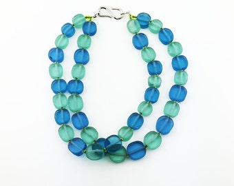 Two Strand Necklace of Blue & Green Discs of Sea Glass MN1636
