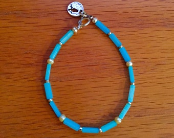 Blue Pool beaded and freshwater pearl bracelet